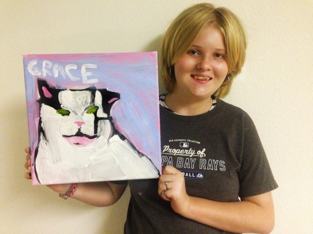 Grace with her cat portrait