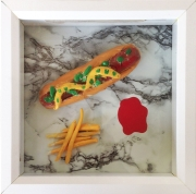 """J"" completed his Hot Dog and Fry combo using clay and a little bit of paint."