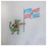 "Symbolism Project, ""Gator (Me), Dominican Flag (Family)"" Made New Artist: Ian"