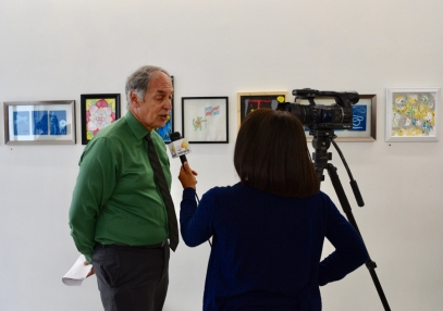 Stephen Pennypacker of PFSF speaks with reporter at the MNA Exhibition 2017